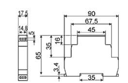 Схема габаритных размеров реле ВЛ-163